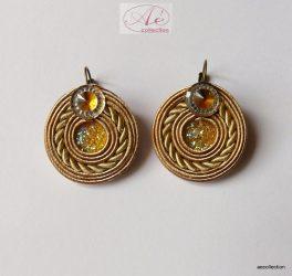Sujtás fülbevaló antik arany, francia kapoccsal