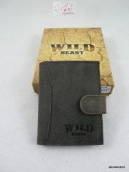 Prémium kategóriás Wild Beast marhabőr kártyatartó, papírpénztartóval.