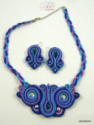 Sujtás ékszer, nyaklánc türkiz, kék, lila