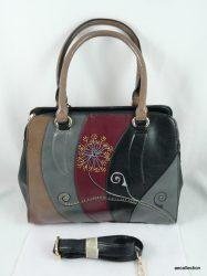 Minőségi, merevfalú női műbőr táska egyedi, kézzel festett mintával!