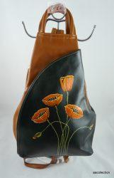 Vera Pelle bőr hátitáska, egyedi, kézzel festett motívummal!