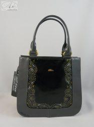 """""""Diva"""" fekete/szürke rostbőr női táska egyedi mintával"""