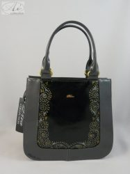 """""""Diva"""" fekete/szürke rostbőr alkalmi női táska egyedi mintával"""